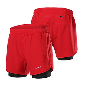 Lixada Men's 2-in-1 Running Shorts Quick Drying Breathable Active Training Exercise Jogging Cycling Shorts with Longer