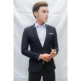 Bộ vest nam 1 nút ôm body màu đen chất liệu co dãn , thoáng mát tặng kèm combo phụ kiện kẹp và cà vạt