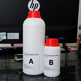 Bộ 1KG Keo Đổ Nhựa Phủ Sàn, Phủ Ảnh, Vẽ 3D, Đổ Bàn Loại Thường Khô Cứng Clear Crystal AB Epoxy Resin DTAB1-A3 1kg