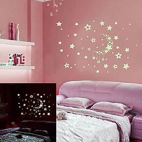 Night Starry Sky Moon Stars DIY Glow in The Dark Luminous Stickers Kids Room Wall Decor Decals for Kids Baby's Bedroom