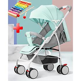 Xe đẩy cho bé, Xe đẩy trẻ em gấp gọn A2, khung kim loại siêu nhẹ, xách tay dễ dàng, bánh xe kéo tiện lợi - TẶNG KÈM ĐÀN XYLOPHONE 8 THANH CHO BÉ