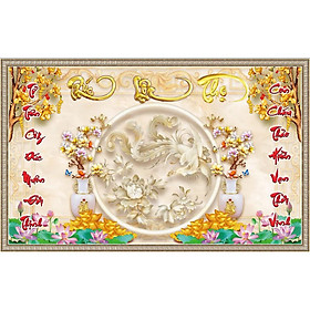 Tranh dán tường phòng thờ chữ phúc lộc thọ - trang trí phòng thờ hoa sen - vải lụa kim tuyến ( kích thước theo yêu cầu)