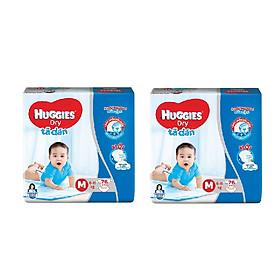 2 Gói Tã Dán Huggies Dry Gói Cực Đại M76 (76 Miếng) - Bao Bì Mới