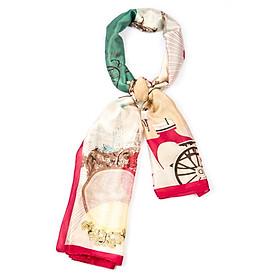 Khăn Choàng Cổ Lụa Phối Nhiều Màu Họa Tiết Bánh Xe - Silk - 180x90cm - Mã KS009