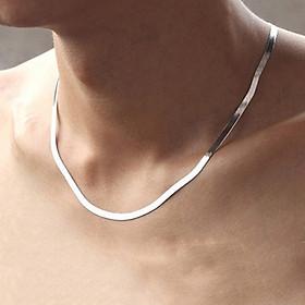 Dây chuyền nam inox thời trang kiểu dây mì dẹp trangsucpt kích cỡ 3mm màu trắng thép không gỉ PTDCNA43