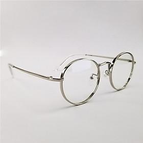 Gọng kính cận nữ - nam tròn kim loại SA3019. Tròng 0 độ chống tia UV