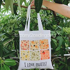 Túi tote trắng I Love Fruits!