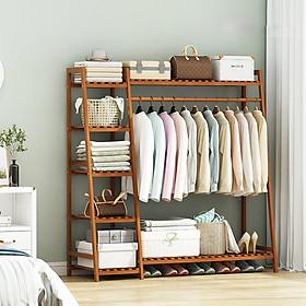 Tủ treo quần áo khung gỗ tre, giá treo quần áo, giàn treo quần áo MGK040