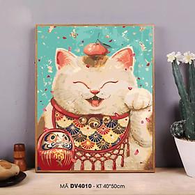 Tranh sơn dầu số hóa tự tô màu theo số mèo chiêu tài mèo thần tài DV4010
