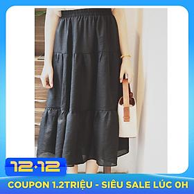 Chân váy xòe dáng dài chất đẹp, dễ thương 2 tầng cạp chun