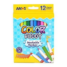 Bút Dạ Màu Loại Dài Amos Color Buddy CM12P-L (12 Bút/Hộp)
