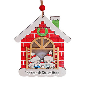 Christmas Tree Decoration Wooden House Glow Ornament Survived Family Christmas Hanging Ornament Home Decor