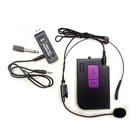 Micro Không Dây Cài Tai Cắm Vào Máy Trợ Giảng, Âm ly, Loa kéo, Loa có sẵn, Máy tính bàn Laptop qua cổng 3.5mm và 6.5mm Thu âm Chat voice Live stream V11 - Hàng nhập khẩu