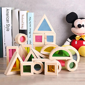 Đồ chơi gỗ - Khối màu kỳ diệu, Đồ chơi Montessori cho bé phân biệt màu và hình khối giúp phát triển kỹ năng hiệu quả