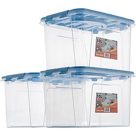 JEKO&JEKO plastic tabletop small transparent storage box 10L 3 Pack toy storage box snack storage box portable storage box blue SWB-515