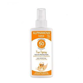 Kem chống nắng hữu cơ cho bé SPF50 dạng xịt  Alphanova BeBe 125g