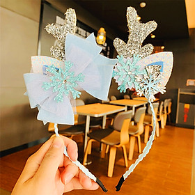 Băng đô cài tóc Noel hình sừng tuần lộc phối hoa trạng nguyên xinh lung linh mùa Giáng sinh phù hợp làm phụ kiện chụp hình – NOEL002