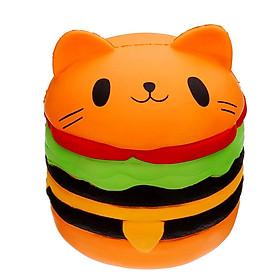 Squishy Allegro chậm tăng hình bánh hambuger mèo có 3 màu vàng cam nâu, an toàn cho bé