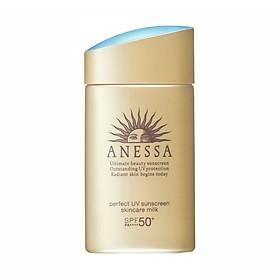 Sữa Chống Nắng Anessa Bảo Vệ Hoàn Hảo - Spf 50+, Pa++++ (An Perfect Uv Sunscreen Skincare Milk) tặng mặt nạ giấy nén Miniso
