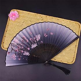 Quạt xếp quạt trúc cầm tay quạt phong cách cổ trang Trung Quốc in hoa trang trí mẫu xám đào bướm hồng tặng ảnh thiết kế Vcone