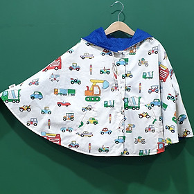 Áo khoác chống nắng 4 mùa kiểu áo cánh dơi poncho mặc 2 mặt cho bé từ 0 - 12 tuổi mẫu ô tô nền trắng cá tính