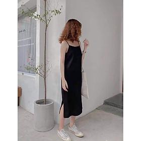 Váy 2 dây, đầm xuông - váy chất đũi lụa trơn basic nữ