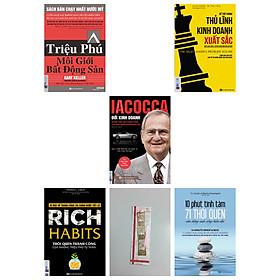 Combo 4 cuốn sách : Iacocca – Đời kinh doanh, Bí mật phía sau thành công của ông trùm xe hơi nước Mỹ+Triệu phú môi giới bất động sản + Rich Habits-Rich Habits – Thói quen thành công của những triệu phú tự thân + Để trở thành thủ lĩnh kinh doanh xuất sắc(tặng cuốn 10 phút tĩnh tâm– 71 thói quen cân bằng cuộc sống hiện đại kèm bookmark kim loại)