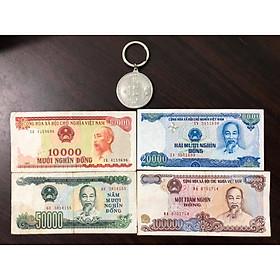 Bộ tiền cổ Việt Nam 4 tờ cotton bao cấp (kèm móc chìa khóa Bitcoin lạ mắt)