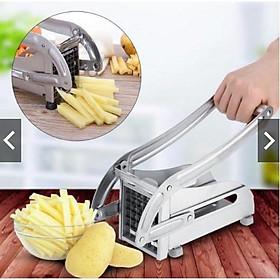 Bộ bếp chiên nhúng điện đơn 3 lít + máy cắt khoai tây Inox 2 cỡ dao