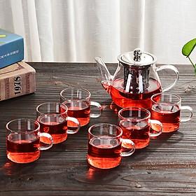 Bộ ấm chén pha trà thủy tinh 550ml trong suốt cao cấp chịu nhiệt có lõi lọc