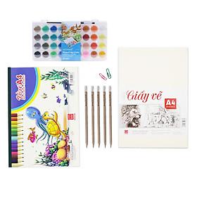 [Tặng ấn phẩm vẽ]  Bộ giấy màu vẽ nước nâng cao Hồng Hà | Vở, giấy vẽ A4, 5 bút chì gỗ có tẩy & màu nước dạng khay 36 màu)