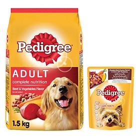 Combo thức ăn cho chó Pedigree 1,5kg vị thịt bò và rau củ + sốt chó lớn Pedigree 80g vị bò nướng và rau