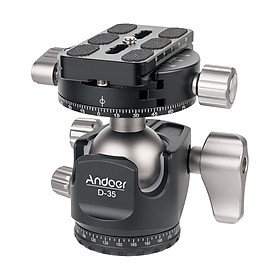 Andoer D-35 Low Profile Double Panoramic Head CNC Machining Aluminum Alloy Ball Head Tripod Head Compatible with Canon