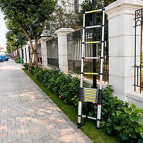 Thang Nhôm Rút cao 5 mét 4 cao cấp hàn quốc tiện lợi nhỏ gọn thang công trình gia đình chất lượng cao phù hợp nhiều loại công việc có chốt cao su an toàn nhôm T6030 đạt tiêu chuẩn châu âu