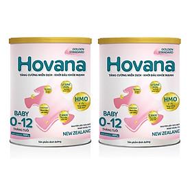 Bộ 2 Lon Sữa bột Hovana Baby hỗ trợ tiêu hóa cho bé từ 0 đến 12 tháng 400gr