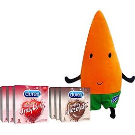 Bộ sản phẩm 3 hộp Sensual Strawberry 3s + 3 hộp Naughty Chocolate 3s Tặng Carot bông Durex (màu cam)