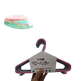 Set 15 cái Móc phơi quần áo trẻ em Nhật Bản  cao cấp + 1 Dây phơi đồ thông minh(Giao màu ngẫu nhiên)