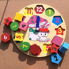 Đồ chơi đồng hồ bằng gỗ dạy bé học chữ số, xem giờ