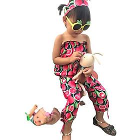 Set bộ quần alibaba áo ống kèm tuban bé gái