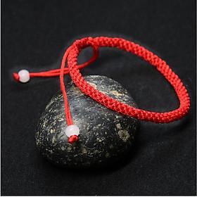 Vòng tay nam nữ bện chỉ đỏ tròn đính 2 hạt ngọc CD19
