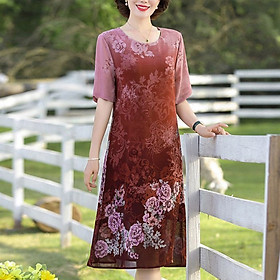 Đầm Suông Nhiều Size Tuổi Trung Niên Kiểu Đầm Dáng Suông Chữ A In Hoa Nhỏ ROMI 3303