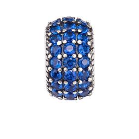 Hạt charm DIY PNJSilver hình trụ đính đá màu xanh dương ZT00A000002-BO