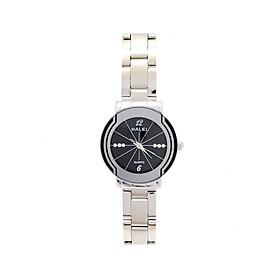 Đồng Hồ Nữ Halei HLL457 Dây trắng mặt đen (Tặng pin Nhật sẵn trong đồng hồ + Móc Khóa gỗ Đồng hồ 888 y hình + Hộp Chính Hãng+ Thẻ Bảo Hành)