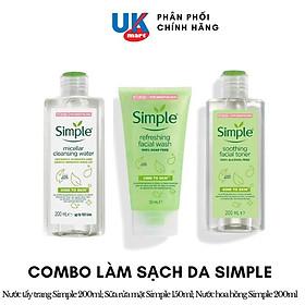 Combo Simple Làm Sạch Tẩy Trang + Sữa Rửa Mặt + Nước Hoa Hồng