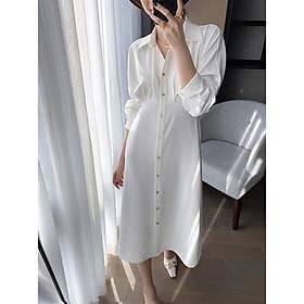 Đầm suông dáng dài cổ sơ mi cài khuy làm được luôn áo choàng.