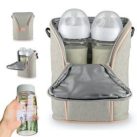 Túi giữ nhiệt bình sữa đôi Fatzbaby (chứa được 2 bình sữa cổ rộng) kèm bình đựng nước cao cấp cho bé