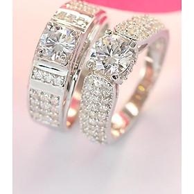 Nhẫn đôi bạc nhẫn cặp bạc đẹp đính đá tinh tế ND0269