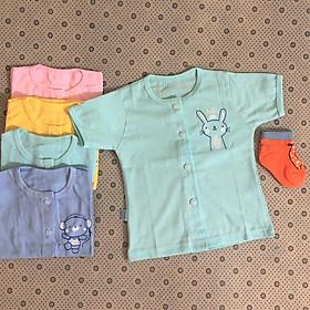 Combo 5 áo sơ sinh cotton tay ngắn màu cài nút giữa Thái Hà Thịnh ( Quà tặng đi kèm 1 đôi tất amigo size tương ứng, màu ngẫu nhiên)
