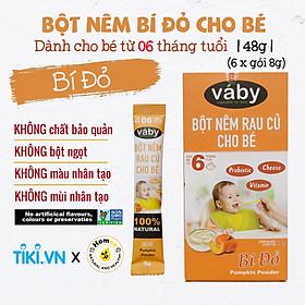 Bột nêm Bí đỏ dành cho bé ăn dặm VABY Hộp 48g (6 x gói 8g)- Gia vị nêm và rắc dành cho bé từ 6 tháng tuổi