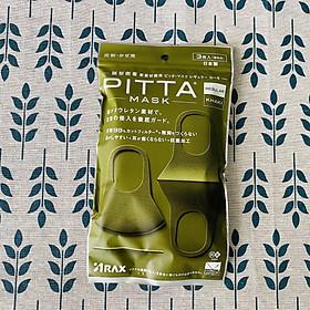 Khẩu Trang Pitta Màu Xanh Rêu Khaki Nhật Bản (Gói 3 cái, mẫu mới 2020)